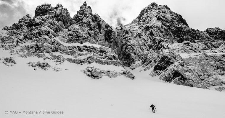 Backcountry Skiing, Montana Alpine Guides, Yellowstone National Park, Ski touring, interpretive ski trips, ski guides, bozeman, big sky