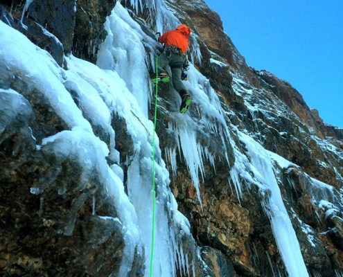 Ice Climbing on The Sphinx, sphinx north face, early season ice, Madison Range, MT. Montana Alpine Guides, Ice Climbing