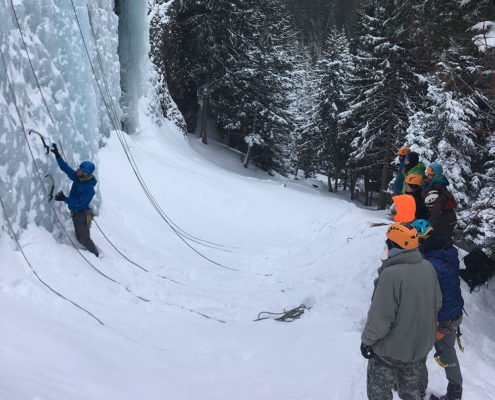 Ice climbing, courses, instruction, classes, Hyalite Canyon, Montana Alpine Guides