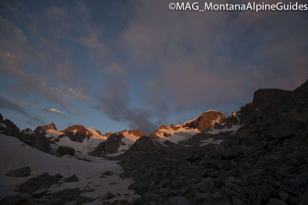 Gannett Peak, east face, goose neck route, sunrise, wyoming's highest peak, highpointers