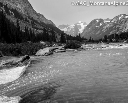 Gannett peak, streams, mountain streams, high pointers, trees, mountains