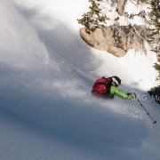 backcountry ski photo, powder, big sky, bozeman, ski guides, montana alpine guides