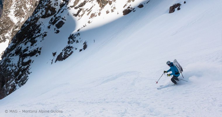 Backcountry Skiing with Montana Alpine Guides, Beartooth Mountains, Beartooth Mountain Guides, fresh turns